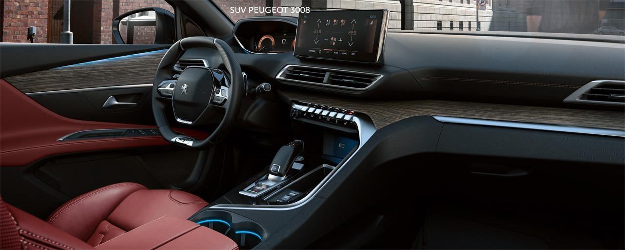 Nouveau SUV PEUGEOT 3008 -Grand intérieur thermique en cuir rouge